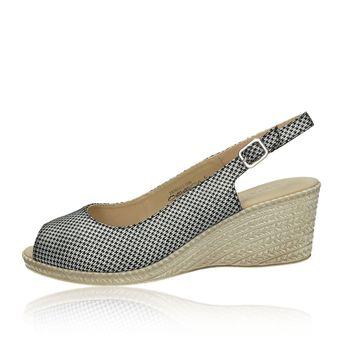 368f21dae3 Caprice dámske kožené sandále na klinovej podrážke - striebornočierne