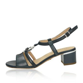 Caprice dámske štýlové kožené sandále - tmavomodré