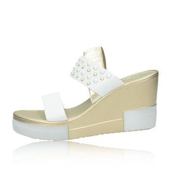 Cerutti dámske elegantné sandále s ozdobnými kamienkami - biele