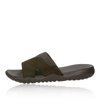 Crocs pánske kožené šľapky - hnedé