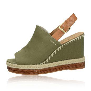 23e89f4fe2 Gant dámske štýlové sandále na klinovej podrážke - olivové