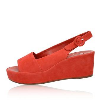 Högl dámske semišové sandále na klinovej podrážke - červené