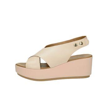 90bde7ce0f Inuovo dámske štýlové kožené sandále na klinovej podrážke - ružové