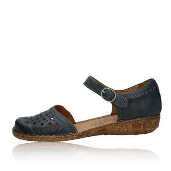 dd791b348410 Josef Seibel dámske kožené perforované sandále s remienkom - modré