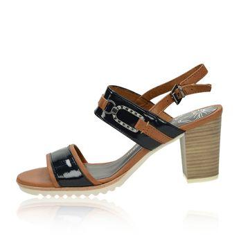 77611fb462 Marco Tozzi dámske štýlové sandále s remienkom - modrohnedé