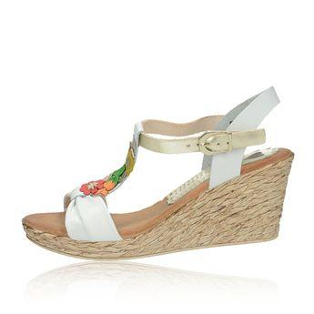 39043c098b49 Marila dámske kožené sandále na klinovej podrážke - biele