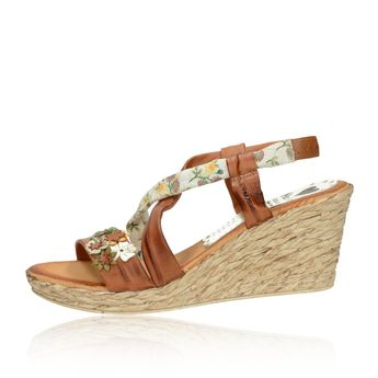 4a24982d0fa7d Marila dámske letné sandále s kvetmi - koňakové