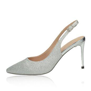 Menbur dámske spoločenské trblietavé sandále - strieborné