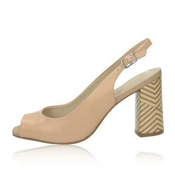 c703e1a4ebc Olivia shoes dámske kožené sandále na podpätku - béžové