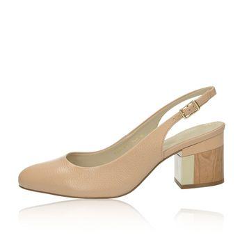 61d541b0f04ec Olivia shoes dámske kožené sandále s remienkom - béžové