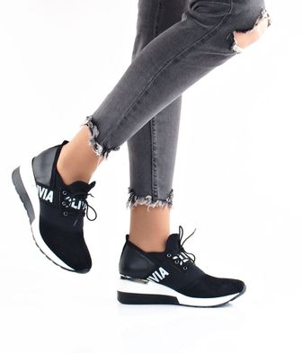Olivia shoes dámske kožené tenisky na klinovej podrážke - čierne