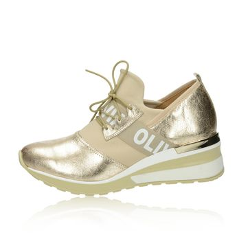 f3351c5891c2 Olivia shoes dámske kožené tenisky na klinovej podrážke - zlaté