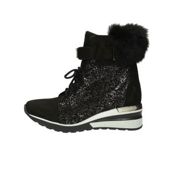 Olivia shoes dámske nubukové kotníky na suchý zips - čierne