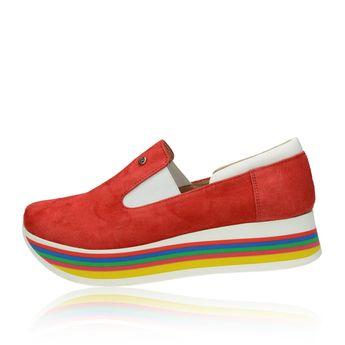 Olivia shoes dámske štýlové semišové poltopánky - červené