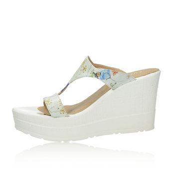 Olivia shoes dámske štýlové šľapky na klinovej podrážke - biele