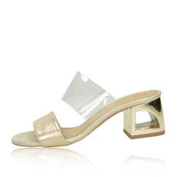 Olivia shoes dámske štýlové šľapky na podpätku - zlaté