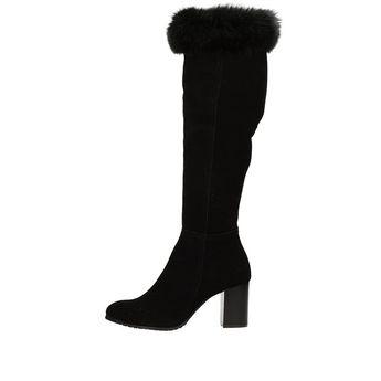 06fbcfe51f Olivia shoes dámske vysoké semišové čižmy - čierne