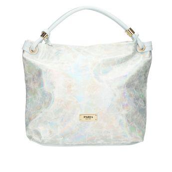 Pabia dámska kabelka - strieborná s farebnými odleskami
