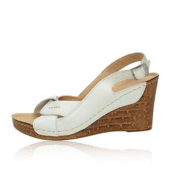 2feac3e17baa Pollonus dámske kožené sandále na klinovej podrážke - biele