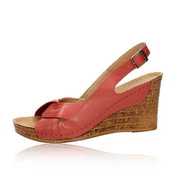 Pollonus dámske kožené sandále na klinovej podrážke - bordové 715524002fb