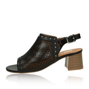 Regarde le ciel dámske kožené perforované sandále - čierne