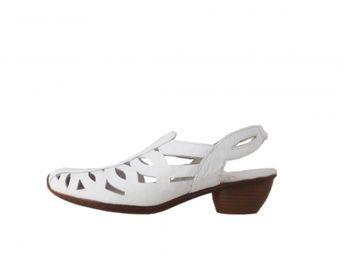 afa81884c9 Rieker dámske kožené sandále - biele