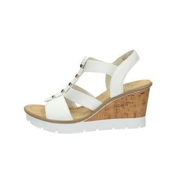 Rieker dámske elegantné sandále na klinovej podrážke - biele 2c67115afe4