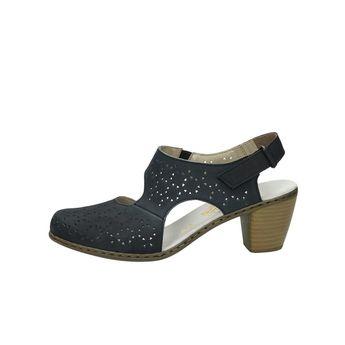 Rieker dámske kožené perforované sandále - modré