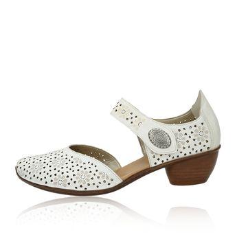 5fa6abe349ff1 ... Rieker dámske kožené perforované sandále - biele