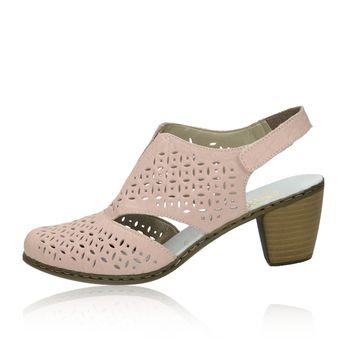 9210137ee563 Rieker dámske kožené perforované sandále - ružové
