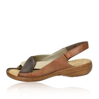 Rieker dámske kožené sandále - hnedé