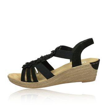 bd13c086b02d ... Rieker dámske pohodlné sandále na klinovej podrážke - čierne