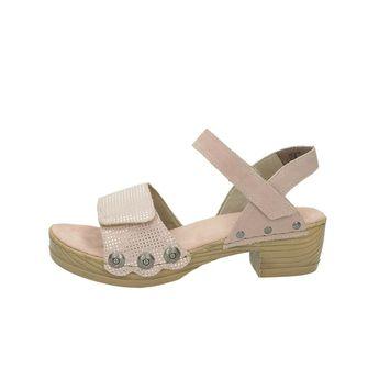 Rieker dámske semišové sandále na podpätku - ružové