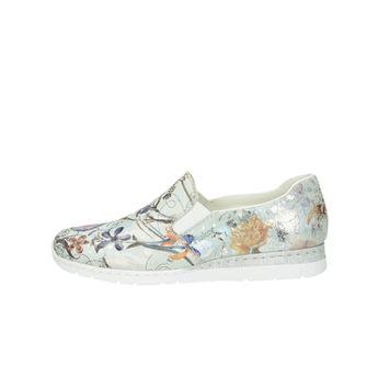 Rieker dámske štýlové poltopánky s kvetovým motívom - šedé