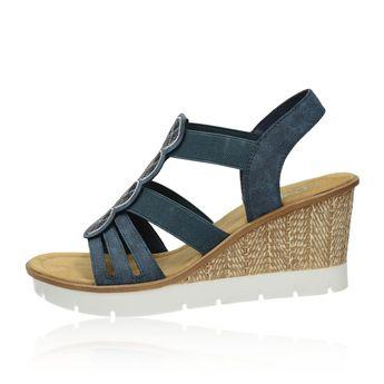 5e6ddb8769898 Rieker dámske štýlové sandále na klinovej podrážke - tmavomodré