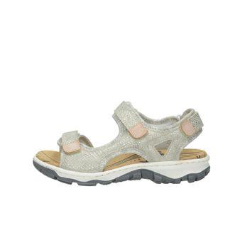 Rieker dámske štýlové sandále na suchý zips - strieborné