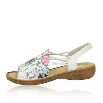 fdc9bd4ae10af Rieker dámske štýlové sandále s kvetovým motívom - biele