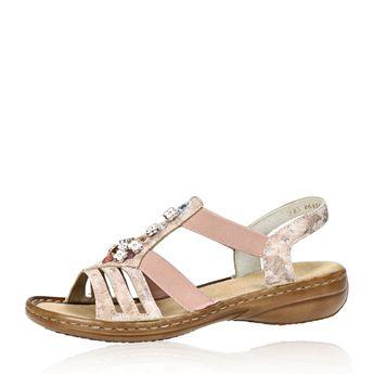 b12f6a5bdd8a Rieker dámske štýlové sandále s ozdobnými kamienkami - ružové