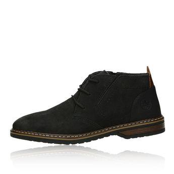 Pánska kožená členková obuv - čierna
