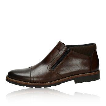 Pánska kožená členková obuv - tmavohnedá