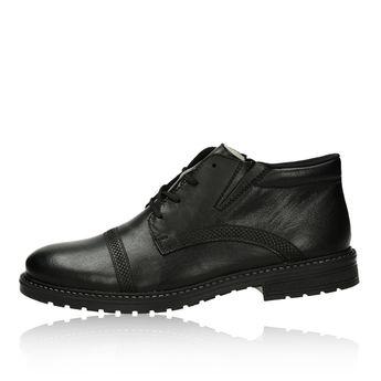 Pánska kožená zateplená členková obuv - čierna