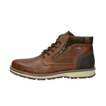 Pánska kožená zateplená členková obuv - hnedá