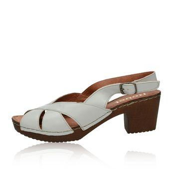 edd3169237ae Robel dámske kožené sandále na podpätku - šedé