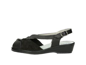 Robel dámske pohodlné sandále na klinovej podrážke - čierne