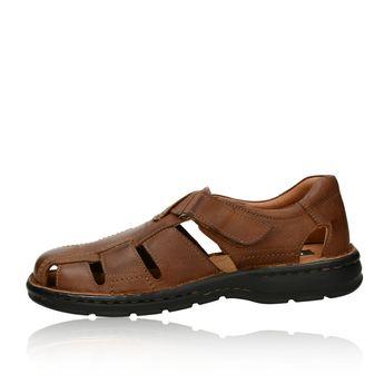 Robel pánske kožené sandále na suchý zips - hnedé