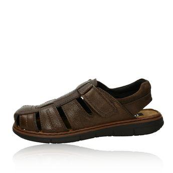 Robel pánske kožené sandále na suchý zips - tmavohnedé
