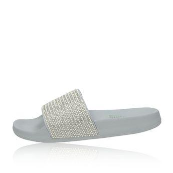 9f4861607362 Skechers dámske šľapky s ozdobnými kamienkami - šedé