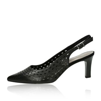 831c03450214 ... Tamaris dámske kožené perforované sandále - čierne