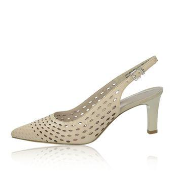 c4250af9c82c5 Tamaris dámske kožené perforované sandále na podpätku - béžové