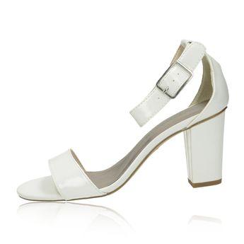 Tamaris dámske lakované sandále - biele